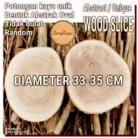 Abstract Wood Slice 33-35cm Potongan kayu unik abstrak talenan nampan
