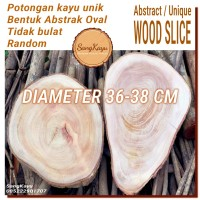 Abstract Wood Slice 36-38cm Potongan kayu unik abstrak talenan nampan