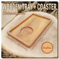 Wooden tray Coaster 26x14 cm nampan kopi kayu modern Rustic tatakan