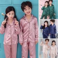 Girls Boys Unisex Silk Pajamas Pyjamas Kids Loungewear Sleepwear Set