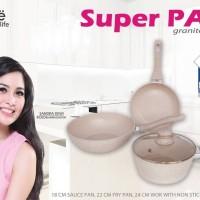Super Pan Granite Series Bolde Panci Ceramic keramik Cookware Set Supe