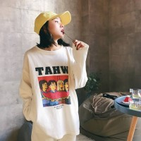 [Lisa]New Autumn Lettering Fun Graphic Print Sweater O-neck Long