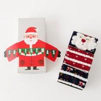 [Lisa] 3 Pasang Kaos Kaki Casual Anti Slip Motif Natal untuk Anak