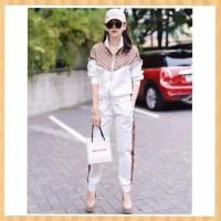 setelan olahraga wanita baju atasan+celana fitnnes gym jogging putih