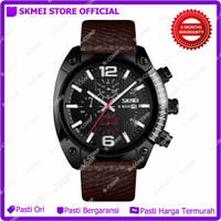 SKMEI 9190 Jam Tangan Analog Chrono Pria Leather Strap