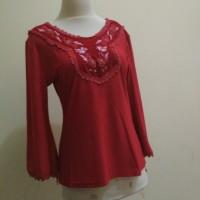Blus Blouse Kaos Wanita Merah Payet Beludru Bordir