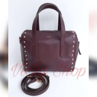 Tas Fossil Originap Sidney Satchel Fig Studded Dark Brown Leather
