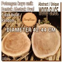 Abstract Wood Slice 42-44cm Potongan kayu unik abstrak talenan nampan