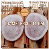 Abstract Wood Slice 39-41cm Potongan kayu unik abstrak talenan nampan