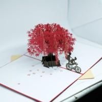 kartu ucapan 3D pohon sakura wishes card termurah COD