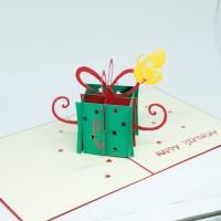 kartu ucapan 3D wishes card green giftbox happy birthday termurah COD