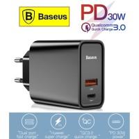 BASEUS Batok Kepala Charger Fast Charging 3.0/4.0 Type C+USB 30W 5A