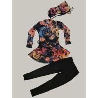 Baju renang muslim anak tanggung perempuan motif bunga