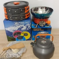 Paket Hemat Cooking Set With Teko / ceret & Kompor Windproof / Bunga