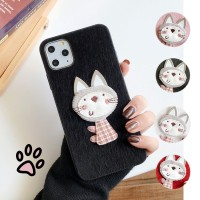 Lovely Plush Cat Hard Case Untuk OPPO F11 Pro F9 F1s A57 A39 F7 F5