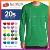 Ready L Kaos Polos Oneck Cotton Combed 20S Tangan Panjang 24 Warna