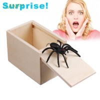 LANFY Joke Toy Spider Hidden in Case Funny Gift Wooden Play Trick