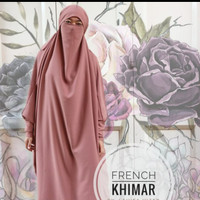 French Khimar Long Zipper Tangan