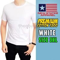 Kaos Polos NSA Premium Cotton T-shirt 7200 ( WHITE, SIZE 3XL )