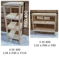 Rak Susun Buku Dapur Sepatu TV Lemari Kayu Portable Serbaguna L - Natural 4ss400