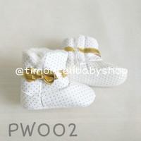 Sepatu Boots Prewalker Baby Bayi Bulu Putih White Polkadot