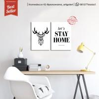 1 set let's stay | hiasan dinding | poster | kayu | wall decor
