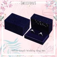 Kotak Cincin Bludru Lamaran Nikah Couple Biru Velvet Wedding Ring Box
