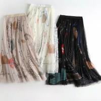 New Rok Fashion Graffiti Mesh Skirt