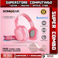 SONICGEAR AIRPHONE 3- Bluetooth Headphones + Sonicube Portable Speaker