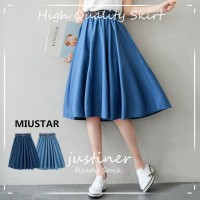 Rok Wanita / Rok Plisket / Rok Jeans / Rok Ala Korea / Denim Skirt