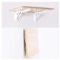 Meja lipat dinding portable bracket besi Rak buku laptop ambalan kayu