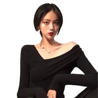 Kaos Lengan Panjang Gaya Korea Wanita variasi bahu - Jfashion Calinda