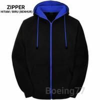 jaket hoodie big size 2XL 3XL 4XL 5XL zipper hoodie jumbo navy - Biru, S