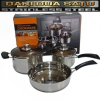 Panci Set Stainless Steel Cookware Set High Quality 3 pc