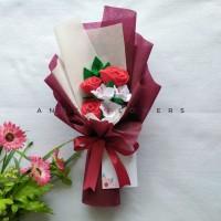 Buket Wisuda Murah Bunga Mawar Flanel