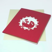 KARTU UCAPAN BABY SHOWER KARTU SELAMAT KELAHIRAN BAYI POP UP 3D MERAH