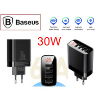 Baseus 4 Ports USB Charger LED Display Multi Travel 30W Fast Charging