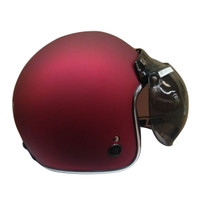 Helm Igloo Retro Red Doff List Chrome Silver (Free Visor) L