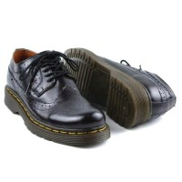 Sepatu Boots Docmart Pria Casual Low Boots Kulit Asli 1061-Hitam