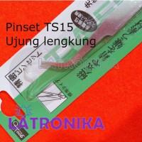 Pinset Elektronik TS-15 Siku Jepitan SMD Bengkok Jepit Komponen TS15