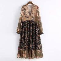 Gaun Maxi Warna V-neck Dicetak Wanita Long Dress