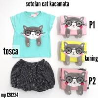 Baju Bayi Perempuan Setelan Hotpants Kacamata Cat MP 128224 - TOSCA