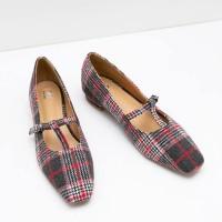 Berrybenka Sepatu Flat Shoes Wanita Mibella Decyta Tartan Flats Red