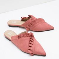 Berrybenka Sepatu Wanita Mules Shoes Lorence Decyta Ruffle Mules Pink