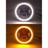 Lampu LED Daymaker 7 inch Headlamp Motor High Low Ring Putih Kuning