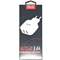 SKU-1128 CHARGER USB 2 PORT 3.4A MUJU MJ-A05 WALL CHARGING CAS MJA05