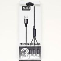 SKU-1120 KABEL USB MICRO + TYPE-C + LIGHTNING 3IN1 1M MUJU MJ-33 MJ33