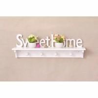 Rak Dinding Vintage Tulisan SweetHome 4 Hook Gantungan Interior Rumah