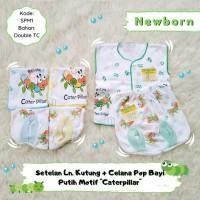 3 Setelan Bayi Baju Kutung & Celana Pop Bayi Newborn motif Caterpillar