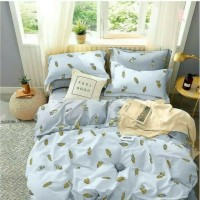 sprei double katun lokal super adem motif pineapple blue